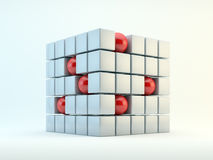 Spheres and cubes abstract. 3D red spheres and pearly cubes abstract Stock Photos