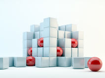 Spheres and cubes abstract. 3D red spheres and pearly cubes abstract Royalty Free Stock Photography