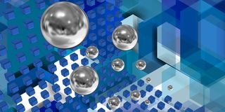 Spheres flying in a tech space Stock Photography