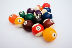 Spheres for game in billiards. Costing in the form of a triangle Royalty Free Stock Photos