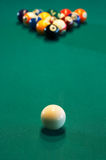 Spheres for game in a pool royalty free stock photo