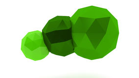 Spheres. Green low poly spheres on white background Stock Photography