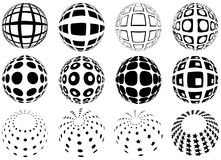 Spheres with grid pattern stock illustration