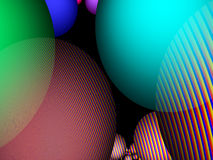 Spheres with line patterns as background. A Fractal can be described as a geometric pattern that is repeated at ever smaller scales to produce irregular shapes Royalty Free Stock Photography