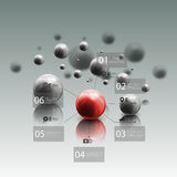 Spheres in motion on gray background. Red sphere. With infographic elements for business, abstract geometric pattern vector illustration royalty free illustration