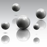 Spheres in motion vector illustration. 3d spheres in motion on gray background vector illustration Stock Images