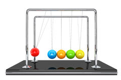 Spheres of Newton. Perpetual motion concept. Colorful newton's cradle on a white background Royalty Free Stock Photography