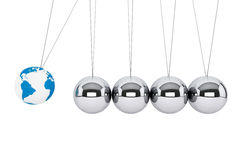 Spheres of Newton with Earth Globe. Perpetual motion concept. Spheres of Newton with Earth Globe on a white background Stock Image