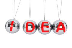 Spheres of Newton with Idea Sign. Perpetual Idea concept. Newton's sphere with Idea sign on a white background Stock Photos