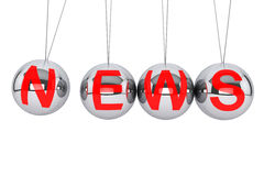 Spheres of Newton with News Sign. Perpetual News concept. Newton's sphere with News sign on a white background Stock Image