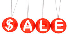 Spheres of Newton with Sale Sign. Perpetual Sale concept. Newton's sphere with Sale sign on a white background Stock Photography