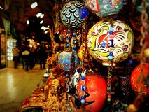 Spheres ornaments in istanbul bazaar. stock photo