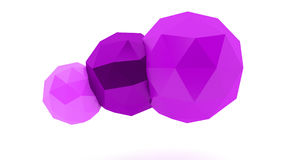 Spheres. Purple low poly spheres on white background Royalty Free Stock Photography
