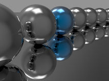 Spheres reflection - wallpaper. 3D render illustration of multiple beautiful reflected spheres  on a grey metallic background. One sphere is in the middle is Royalty Free Stock Images