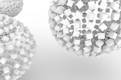 Spheres from squares, modern style soft white & gray background. Artwork, perspectives, graphic & wallpaper. Spheres from squares, modern style soft white & Royalty Free Stock Photography