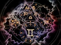 Spheres of Symbolic Meaning. Astral Connection series. Creative arrangement of Zodiac and fractal geometry symbols as a concept metaphor on subject of magic vector illustration