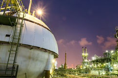 Spheres tank gas with petrochemical column tower background Stock Images