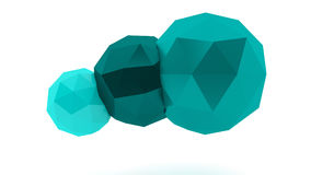 Spheres. Turquoise low poly spheres on white background Royalty Free Stock Images