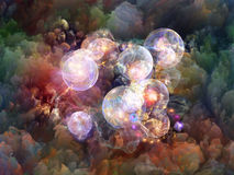 Spheres of Unreal. Dream Surface series. Artistic background made of Colorful fractal clouds and graphic elements for use with projects on dreams, spirituality Stock Photos