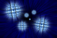 Spheres with video screens showing eyes in a vortex Royalty Free Stock Images