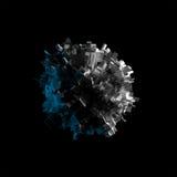 Spheric Gegenstand des abstrakten Fliegens auf Schwarzem, 3d Stockfotografie