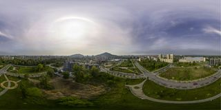 180 by 360 spherical aerial panorama of a park. 180 by 360 spherical aerial panorama of a city park in Plovdiv, Bulgaria Royalty Free Stock Photos
