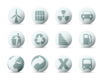 Spherical buttons with ecology concept vector illustration