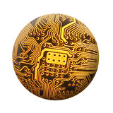 Spherical Circuit. Circuit on motherboard in spherical shape Royalty Free Stock Photos