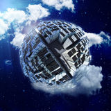 Spherical city world in clouds Stock Photography