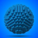 Spherical data block. made with blue cubes. 3d pixel style vector illustration. royalty free illustration