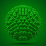 Spherical data block. made with green cubes. 3d pixel style vector illustration. royalty free illustration