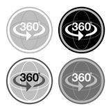 Spherical 360 degree photography web icon. Vector illustration Royalty Free Stock Photos