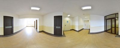 Spherical 360 degrees panorama projection, panorama in interior empty long corridor with doors and entrances to different rooms. Spherical 360 degrees panorama Royalty Free Stock Photo
