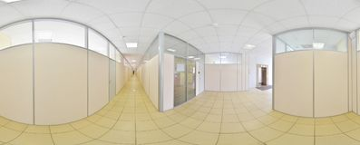 Spherical 360 degrees panorama projection, panorama in interior empty long corridor with doors and entrances to different rooms. Spherical 360 degrees panorama Stock Image