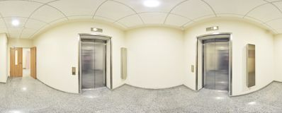 Spherical 360 degrees panorama projection, panorama in interior empty long corridor with doors and entrances to different rooms an. D lift Royalty Free Stock Photo