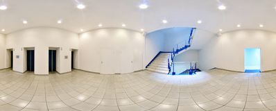 Spherical 360 degrees panorama projection, in interior empty long corridor with doors and entrances to different rooms and lift. Spherical 360 degrees panorama Stock Photo
