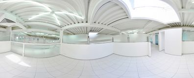 Spherical 360 degrees panorama projection, in interior empty long corridor with doors and entrances to different rooms. Spherical 360 degrees panorama Stock Photography