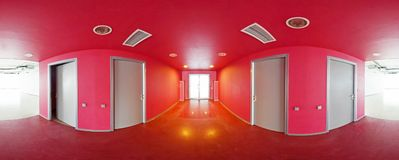 Spherical 360 degrees panorama projection, interior empty red room in modern flat apartments. Spherical 360 degrees panorama projection, interior empty red room royalty free stock image