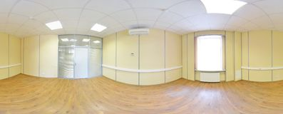 Spherical 360 degrees panorama projection, panorama in interior empty room in modern flat apartments. Royalty Free Stock Images