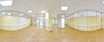 Spherical 360 degrees panorama projection, panorama in interior empty room in modern flat apartments. Spherical 360 degrees panorama projection, panorama in Stock Photo