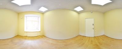 Spherical 360 degrees panorama projection, panorama in interior empty room in modern flat apartments. Spherical 360 degrees panorama projection, panorama in Stock Photos
