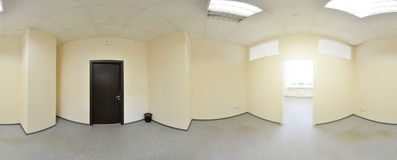 Spherical 360 degrees panorama projection, panorama in interior empty room in modern flat apartments. Spherical 360 degrees panorama projection, panorama in Royalty Free Stock Photos