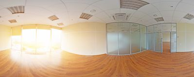 Spherical 360 degrees panorama projection, panorama in interior empty room in modern flat apartments. Stock Photography