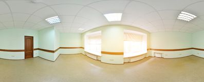Spherical 360 degrees panorama projection, panorama in interior empty room in modern flat apartments. Stock Images
