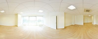 Spherical 360 degrees panorama projection, in interior empty room in modern flat apartments. Spherical 360 degrees panorama projection, in interior empty room Royalty Free Stock Photography