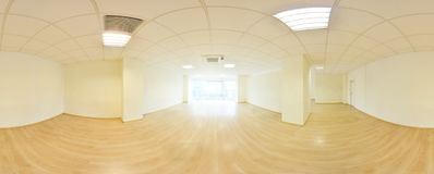 Spherical 360 degrees panorama projection, in interior empty room in modern flat apartments. Spherical 360 degrees panorama projection, in interior empty room Stock Image