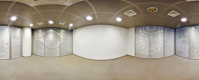 Spherical 360 degrees panorama projection, interior empty room office in modern flat apartments. Spherical 360 degrees panorama projection, interior empty room Stock Photos