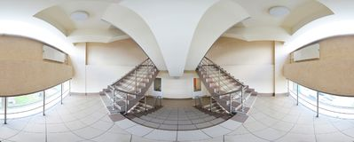 Spherical 360 degrees panorama projection, panorama in interior empty corridor with a flight of double stairs. Spherical 360 degrees panorama projection stock photo