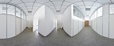 Spherical 360 degrees panorama projection, panorama in interior empty long corridor with doors and entrances to different rooms. Spherical 360 degrees panorama Royalty Free Stock Photography