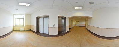 Spherical 360 degrees panorama projection, panorama in interior empty long corridor with doors and entrances to different rooms an. D lift Royalty Free Stock Images